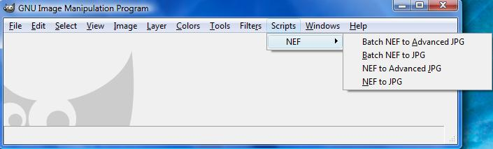 The Script-Fu Batch NEF to JPG plug-in Options.
